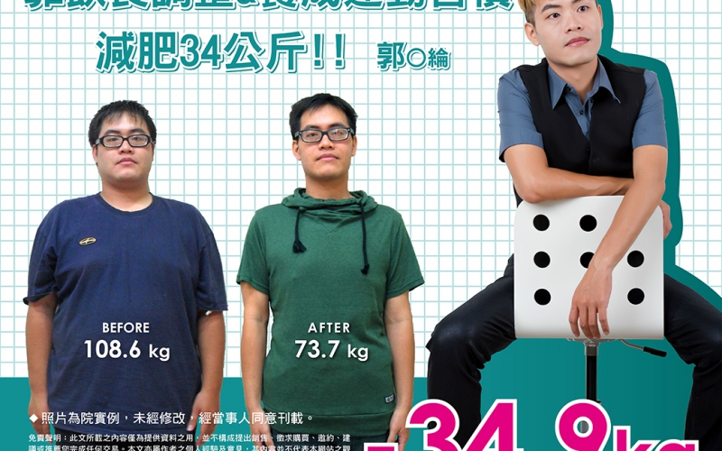靠飲食調整&運動養成習慣,減肥34公斤-郭O綸